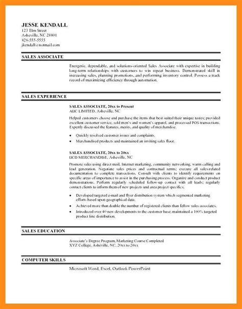 Resume Te by 9 10 Retail Sales Associate Resume Sles Free
