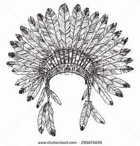 Hand Drawn Native American Indian Headdress. Vector ...