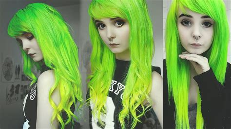 Dying My Hair Lime Green And Yellow Ombre Youtube