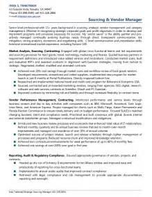 procurement category manager resume inka traktman sourcing vendor management resume