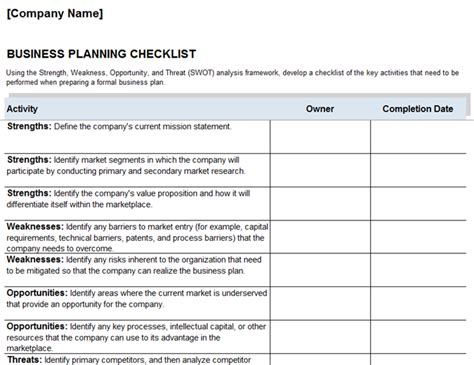 business checklist examples  word examples
