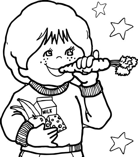 Children Eating Carrot Healthy Coloring Page