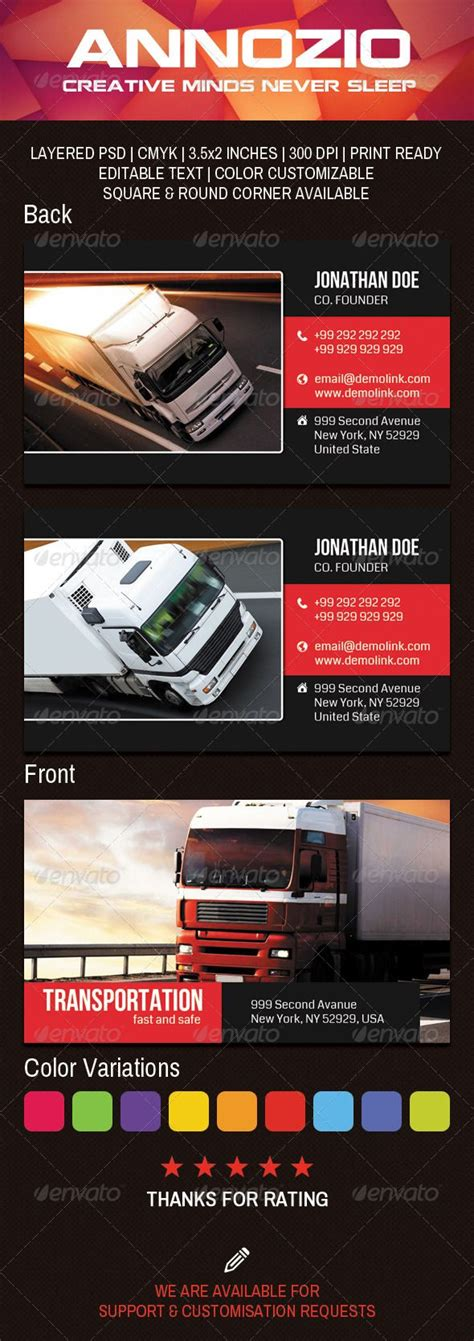 transportation company business card   images