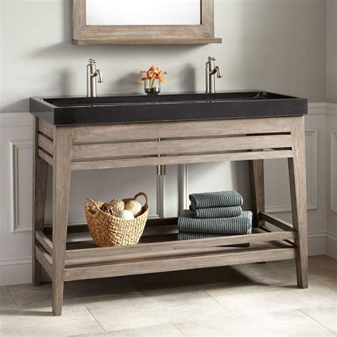 "48"" Aurelia Vanity with Black Granite Trough Sink   Gray"
