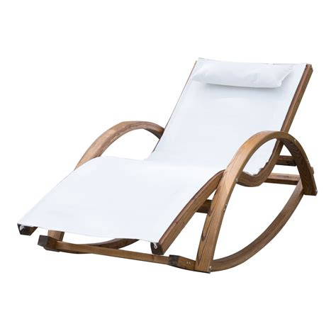 chaise longue bain de soleil outsunny garden wooden recliner rocking chair ideal home