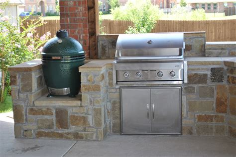 outdoor kitchen with big green egg lewisville outdoor kitchens impact landscapes 9025