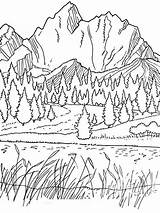 Coloring Mountains Pages Printable Nature sketch template