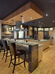 Dark, Contemporary, Kitchen, With, Slate, Eating, Bar
