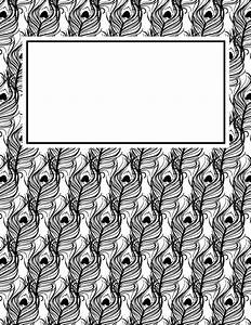 free printable black and white peacock feather binder With black and white binder cover templates