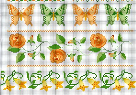 schemi punto croce fiori bordi punto croce con farfalle e fiori magiedifilo it