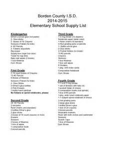 2014 2015 elementary school supply lists