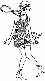Flapper Coloring Urbanthreads Roaring Modele Dessin Visiter Adults Embroidery Coloriage Twenties Template sketch template