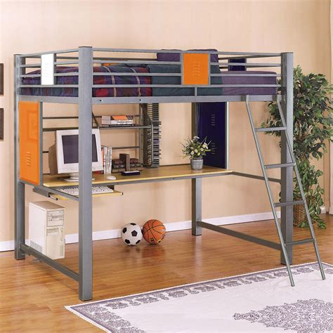 bed with ladder and desk gray metal full size loft bed with computer desk and