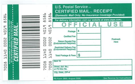 ucr mail services receipt  certified mail ps form