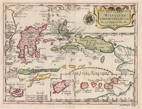 antique map eastern islands  indonesia  sanson