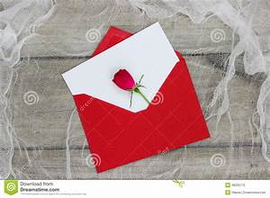 Blank White Love Letter And Red Envelope With Single Red