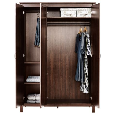 Furniture Rectangle Brown Wooden Wardrobe Closet With