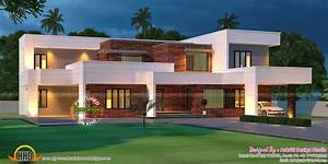 Contemporary House With Laterite Stone Wall Kerala Home