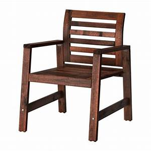 PPLAR Chair With Armrests Outdoor Brown Stained IKEA