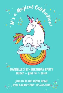 unicorn invitation template   island