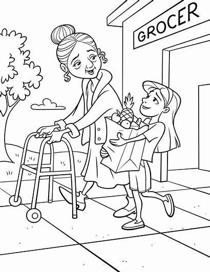 Helping Groceries Elderly Woman Service Line Lds