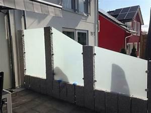 sichtschutz terrasse mit granit und glas With sichtschutz glas terrasse