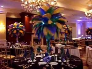 table rentals island mardi gras themed ostrich feather centerpieces rentals at
