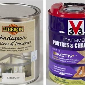Badigeon Poutre Et Boiserie : repeindre un plafond avec poutres en bois apparentes ~ Premium-room.com Idées de Décoration