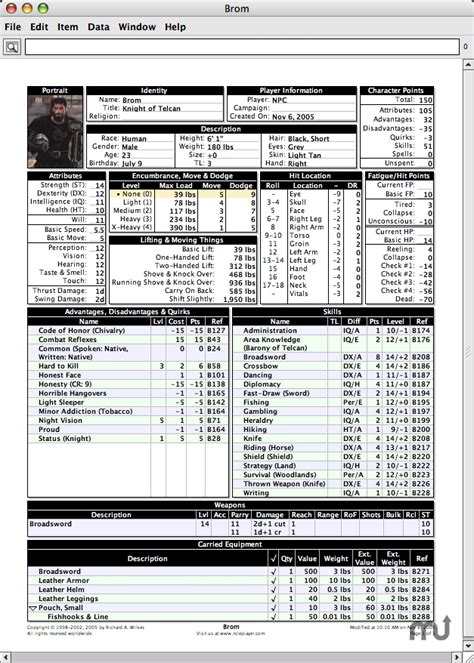 gurps character sheet 2010 01 06 free download for mac