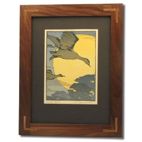 custom black walnut mission frame  oak corner inlays