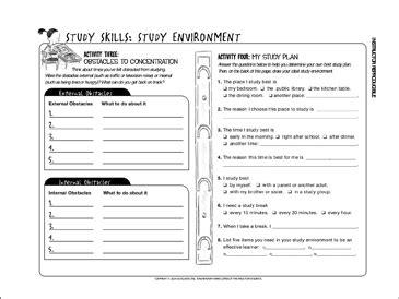 study skills study environment printable student