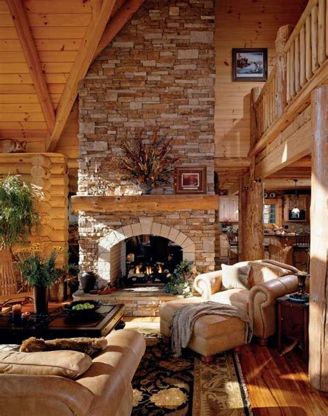 Cabin Living Room Fireplace