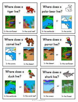 animals habitats unit  speaking task cards eslel