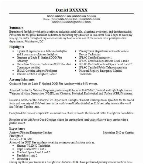 Firefighter Resume Summary by Best Firefighter Resume Exle Livecareer