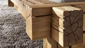 Balkenbett JONAS Bett aus Wildeiche massiv 180x200