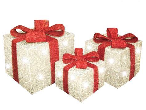 set of 3 decorative pre lit led christmas gift boxes