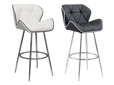tabouret de bar quatre pieds lot de 2 tabourets de bar lizzy simili coloris noir