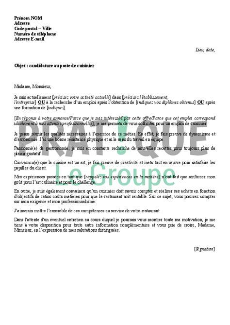 restauration cuisine lettre de motivation pour un emploi de cuisinier pratique fr
