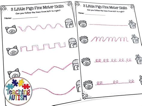 Little Pigs Worksheets Fine Motor Skills