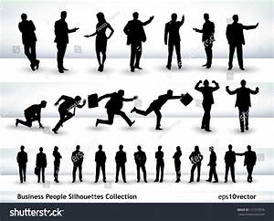 Collection Business People Outlines Different Positions ...