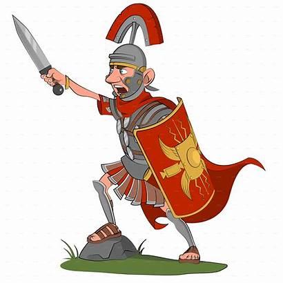 Warrior Roman Cartoon Clipart Transparent Sword Centurione