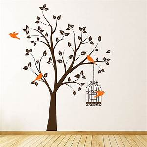Wall art designs bird tree with cage