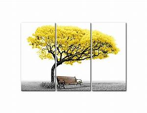 Canvas Wall Art Paintings For Home Decor Yellow Tree Park