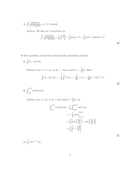 lesson 28 integration by substitution worksheet solutions