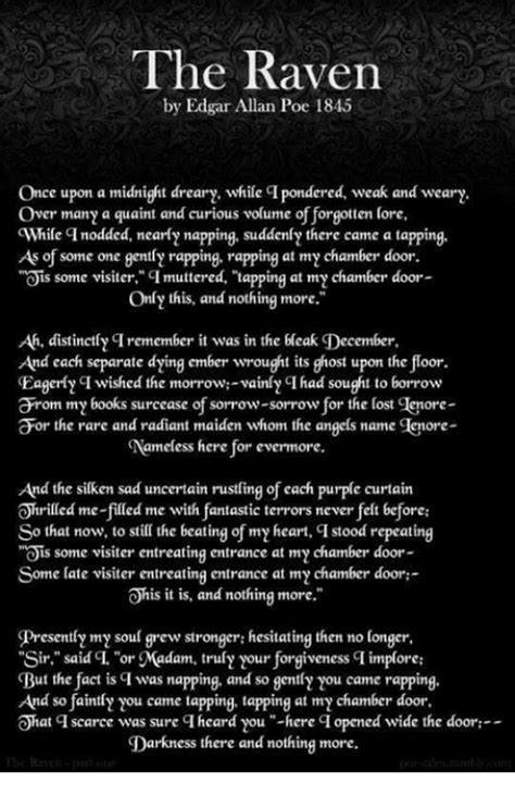 The Raven By Edgar Allan Poe 1845 Once Upon A Midnight Dreary While Ci Pondered Weak And Wear