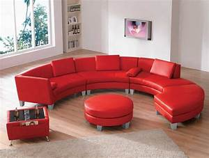 Furniture living room curved red top grain leather for Sectional sofa with round chaise