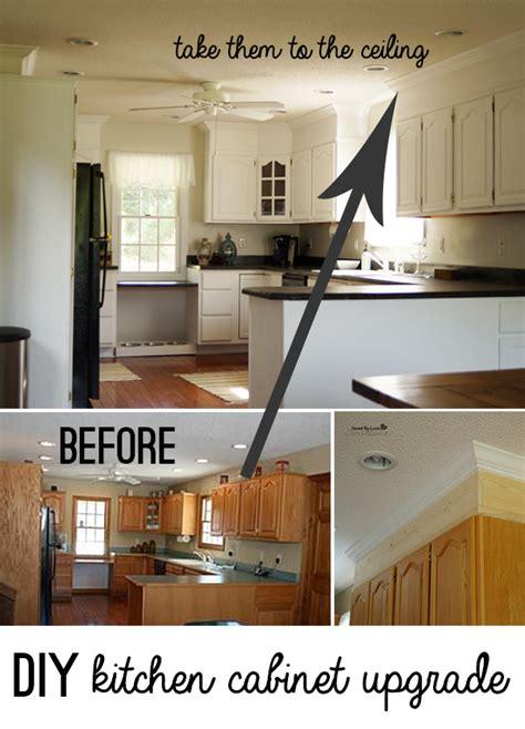 diy kitchen cabinet upgrade  paint  crown molding