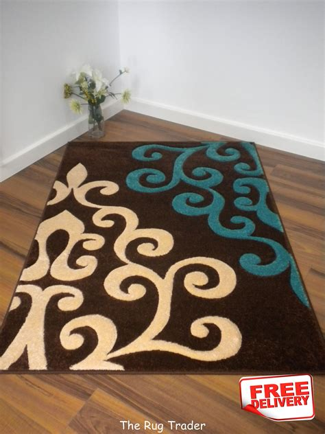 brown and turquoise rug viola brown turquoise 2366k rug in two sizes ebay
