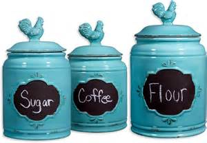 rooster blue set of 3 ceramic storage canisters