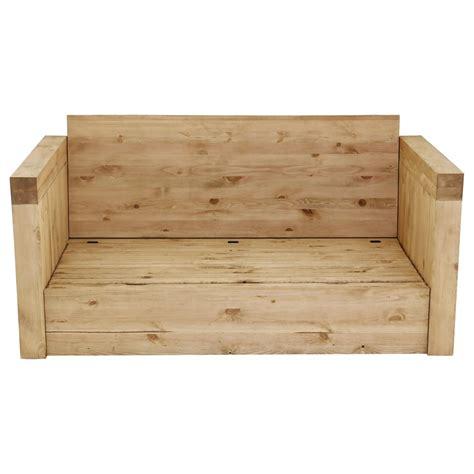 canapé style chalet canapé 2 places microfibre marron et bois massif avec